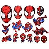 BOSSTER Toppe Termoadesive 15 Pezzi Spiderman Toppe per Vestiti Distintivo di Cucito Ricamato Cucito a Mano colorato per Maglietta Jeans Abbigliamento Borse