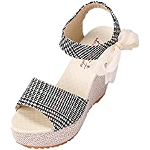 Mujer zapatos Tefamore Sandalias planas romanas Tacones de cuña Summer High Platform Fish Mouth moda
