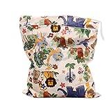 Sonline Sacchetto pannolini bambino lavabile disposizione stoccaggio (modello animale Elefante Leone Beige )