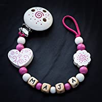 Schnullerkette mit Name Holz Clips Perlen Motive Buchstaben Mädchen Modell Maja