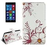 ALSATEK Coque en Cuir PU pour Nokia Lumia 930 Motif Fleurs