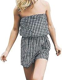 a5aa77646f7 Qiusa Combinaison Noire Tartan pour Dame Ladies Sexy Courte Culotte à  l épaule