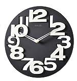 GMMH 3 D Design Moderne Wanduhr 8808 Küchenuhr Baduhr Bürouhr Dekoration ruhig (schwarz weiß)