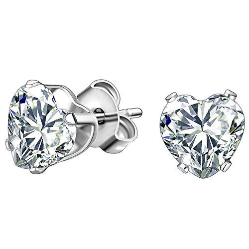 JewelryWe Gioielli orecchini da uomo donna 1.25 Ct cuore Cubic Zirconia acciaio inossidabile Multi-Colore selezionabile (bianco)