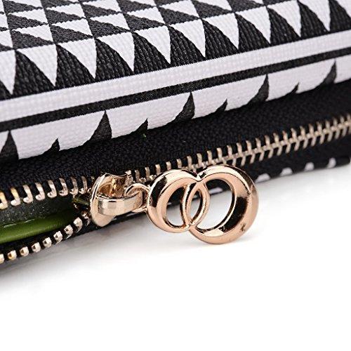 Kroo Pochette/étui style tribal urbain pour LG F60 White and Orange Noir/blanc
