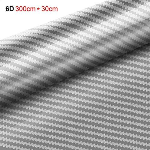 Preisvergleich Produktbild Yilyln 6D Autofolie Carbon Vinyl Wrap 3000 mm x 300 mm selbstklebend Folie - Auto & Motorrad,  Laptops,  Handys,  PC-Gehäusen (Silber)