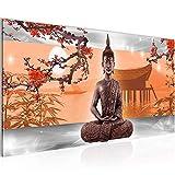 Bilder Buddha Feng Shui Wandbild 100 x 40 cm Vlies - Leinwand Bild XXL Format Wandbilder Wohnzimmer Wohnung Deko Kunstdrucke Orang 1 Teilig -100% MADE IN GERMANY - Fertig zum Aufhängen 504912c