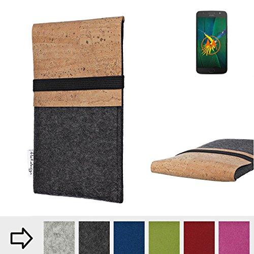 flat.design für Motorola Moto G5s Plus Schutzhülle Handytasche SAGRES mit Kork-Klappe - einzigartige Handytasche Schutz Case aus 100% Wollfilz (anthrazit) für Motorola Moto G5s Plus