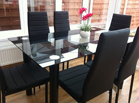 STUNNING GLASS BLACK DINING TABLE SET AND 6 FAUX LEATHER CHAIRS