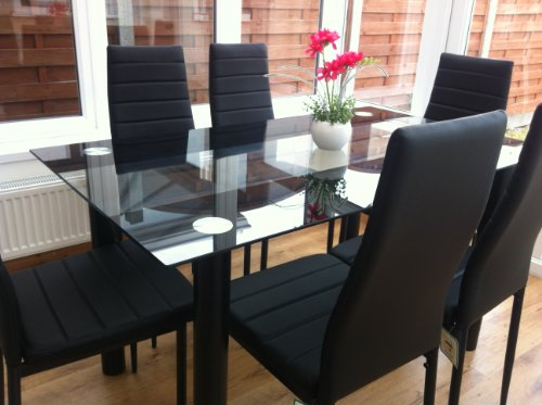 STUNNING GLASS BLACK DINING TABLE SET
