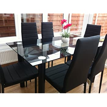 STUNNING GLASS BLACK DINING TABLE SET AND 6 FAUX LEATHER CHAIRSu2026