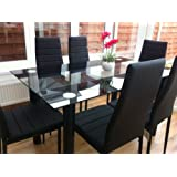STUNNING GLASS BLACK DINING TABLE SET AND 6 FAUX LEATHER CHAIRSu2026 Part 21
