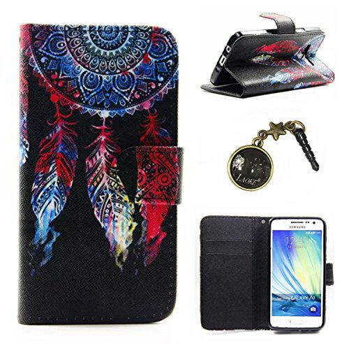 Polyurethane leather case cover, rhinestone case, wallet protection case, shell case, shell case, leather swag case (Samsung Galaxy A3 a300 (2015) 4.5 inch + dust caps.