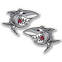 2 x 10cm Angry Shark Vinyl Stickers iPad Laptop Helmet Car Surf Beach Fun #4833 (10cm Wide x 7.2cm Tall)