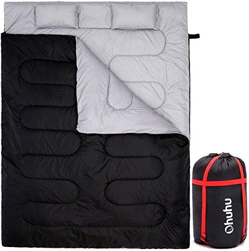 Double Sac de couchage Ohuhu, Nior avec 2 oreillers et un sac de transport pour camping, randonnée pédes
