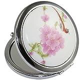 Kolight Miroir de poche double côtés pliable (un côté miroir grossissant, l'autre côté miroir normal) - Design vintage chinois (fleur + oiseau rouge)