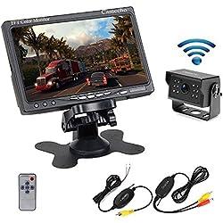 Camecho sans fil de voiture Caméra de recul étanche Vision de nuit 12 infrarouge Caméra de recul + 7 Pouces TFT LCD Monitor pour voiture 12V 24V véhicule,Truck,Van