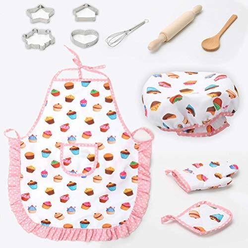 BESTONZON Kinder Kochschürze Set mit Kochmütze Ausstechformen Schneebesen Nudelholz Kochlöffel und Topflappen für Küche Rollenspiel Spielzeug Kostüm