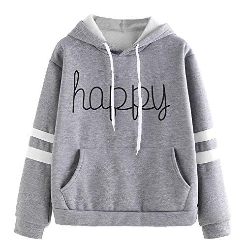 Vêtements LILICAT Les lettres des femmes décalcomanies de mode à manches longues sweat-shirt à capuche sweat shirt heureux gray