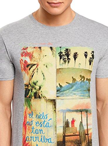 oodji Ultra Herren Lässiges T-Shirt mit Stranddruck Grau (2350P)