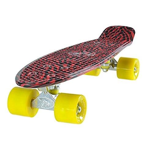 Land Surfer Cruiser Skateboard 22 Inch Black & Red Zebra Board Solid Yellow Wheels