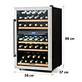 Klarstein Vinamour 40D Cantinetta Frigofero per Vino Volume 135L 47dB Ideale per 41 Bottiglie 2 Zone Programmabili Display LCD Touch 5 Ripiani Estraibili Classe C Vetro/Acciaio