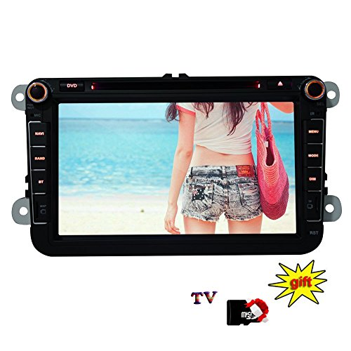 Eincar 8 pollici doppio 2 DIN autoradio Dash analogo TV GPS di navigazione Autoradio Bluetooth FM / AM / RDS USB / SD ricevitore radio HD digitale touchscreen lettore DVD dell'automobile per Volkswagen Passat Golf 5 6 Touran Tiguan Transporter Multivan T5 Polo Jetta Caddy Skoda Seat Altea + 8GB Mappa Scheda