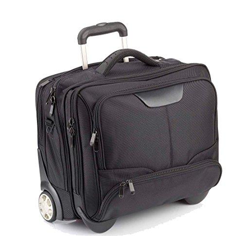 DERMATA Notebooktasche Notebooktrolley 17 Zoll Pilotenkoffer Trolley [ Laptop max. 41 x 29 cm] mit Schultergurt / SCHWARZ