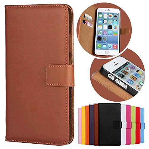 Roar Handy Hülle für HTC One M8, Handyhülle Braun, Tasche Handytasche Schutzhülle, Kartenfach & Magnet-Verschluss