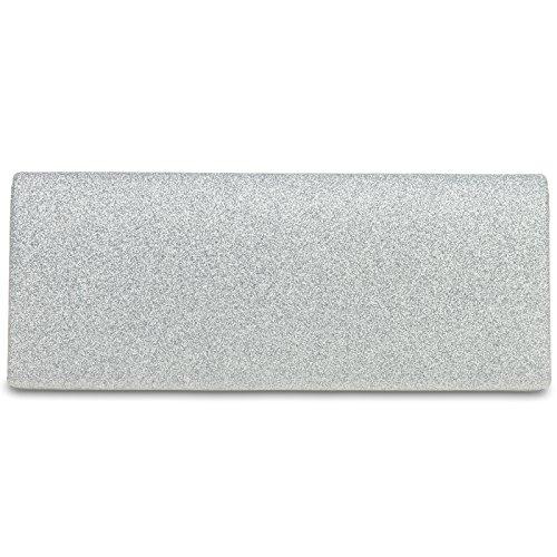 CASPAR TA343 elegante Damen Glitzer Clutch Abendtasche, Farbe:silber, Größe:One Size