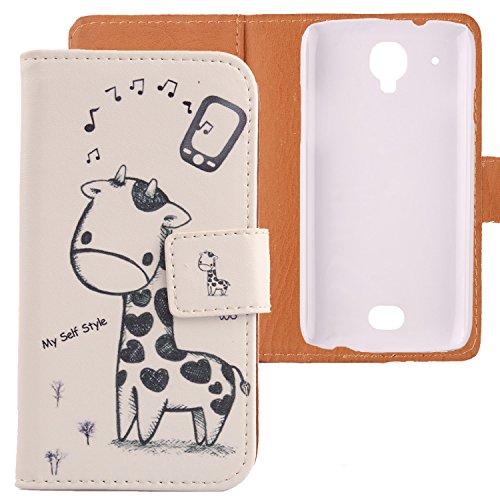 Lankashi PU Flip Leder Tasche Hülle Case Cover Schutz Handy Etui Skin Für MOBIWIRE Ahiga Giraffe Design