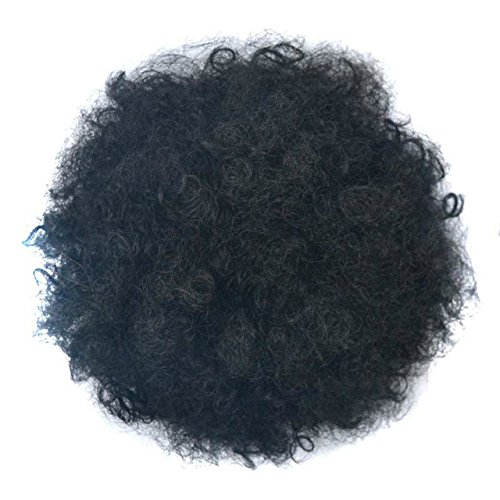 flauschig lockiges Afro-Haar chignons Synthetik Kordelzug Pferdeschwanz Donut Nadel Perücke Pferdeschwanz Erweiterung für African American schwarz Frauen kurzer Pferdeschwanz Haarteil (African Erweiterungen American)