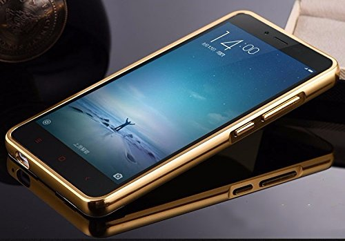 Kapa Luxury Mirror Effect Acrylic back + Metal Bumper Case Cover for Xiaomi Redmi Note 3 - Gold