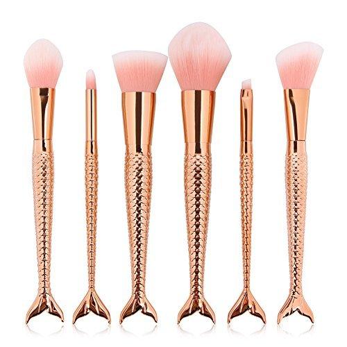 Coshine 6 teile / satz Rose Gold Meerjungfrau Nylon Haar Make-Up Pinsel Set, für Foundation, Lidschatten, Erröten, Creme, Concealer, lose Pulver (Synthetische Haar-mischung)