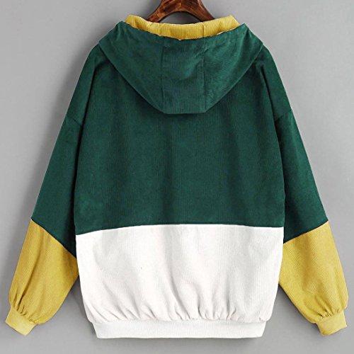 Lenfesh - Coupe-vent surdimensionné - Femme Velours côtelé pardessus - Veste à manches longues Vert