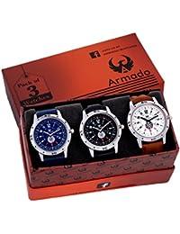 Armado AR-078BBW Combo Of 3 Stylish Analog Watch-For Men