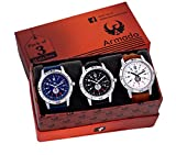#3: Armado AR-078BBW Combo Of 3 Stylish Analog Watch-For Men