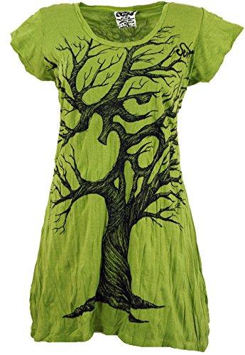 Guru-Shop, Sure Long Shirt, Miniabito OM Tree, Limone, Cotone, Dimensione Indumenti:M (38), Certo che le Camicie