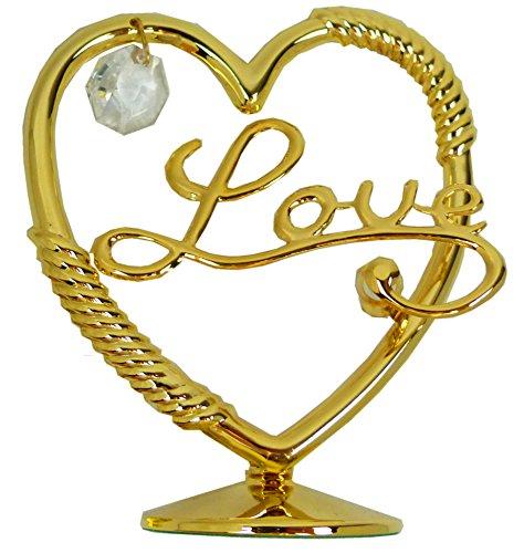 Preisvergleich Produktbild Valentinstag Herren Damen Geschenk Herz LOVE Gold Sculpture mit Swarovski Stein 24 Karat vergoldet Deko Schminktisch Hochzeit Torte Aufsteller 4858