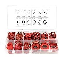 Arandela de papel variada - 600 piezas 12 tamaños Kit de arandelas planas de fibra de papel de acero rojo Arandela de aislamiento Conjunto surtido con caja