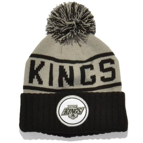 Mitchell & Ness NHL LA KINGS High 5 Pom Knit Adult's Beanie Hat (KJ47Z) (Grey) (One Size) (Pom Cuffed Beanie Pom)