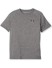 Under Armour UA Tech SS - Camiseta de Manga Corta para niño, Niños, 1323891-019, Charcoal Light Heather/Black, Junior L