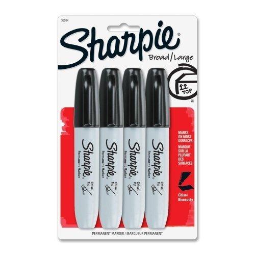 sanford-corporation-sharpie-pennarello-inchiostro-e-punta-a-scalpello-4-pezzi-colore-nero-con-sharpi