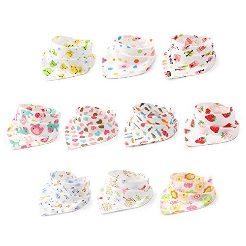 10er Baby Dreieckstuch Lätzchen Mädchen Spucktuch Baumwolle Halstücher mit süßen Motiven in unterschiedlichen Farben, Doppellagig Saugfähig -