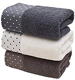 Set di asciugamani (3-pack, cotone 35,6 x 76,2 cm) uso polivalente per vasca da bagno, a mano, faccia, palestra e spa Dot