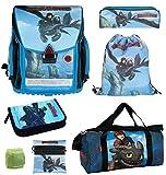 Dragons Schulranzen-Set 7-teilig mit Federmappe gefüllt, Sporttasche und...