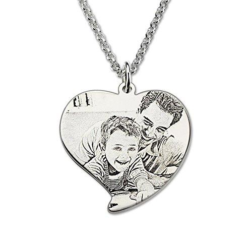 Bo&Pao Kette Damen Herren Halskette mit Fotogravur und Textgravur 925 Sterling Silber,Unisex Herzkette mit personalisierte Foto Herz-Anhänger
