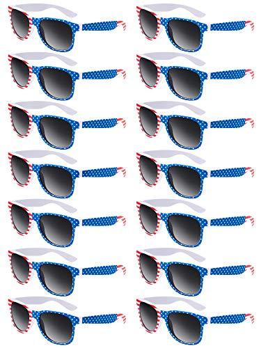 Norme 14 Stücke Klassische USA Amerikanische Amerika Flagge Sonnenbrille Unisex Independence Day Amerikanische Brille (Stil 1)
