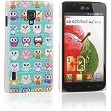 tinxi® harte ABS-Kunststoff Schutzhülle für LG Optimus L7 II P710 hard Schutz case cover Rückschale Hülle Etui Skin matt mit vielen Eulen Owls