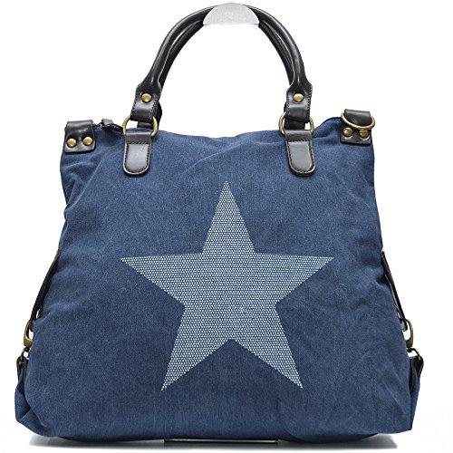 Blaue Nieten-handtasche (Vain Secrets Sternen Shopper Damen Handtasche mit Schulterriemen (Blau Weiß Stern))